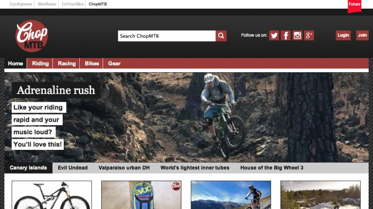Chop MTB website design